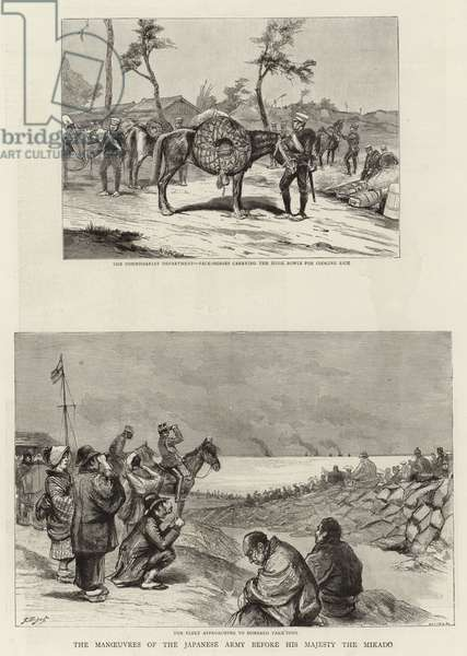 The Manoeuvres of the Japanese Army before His Majesty the Mikado (engraving)