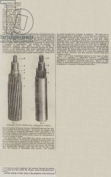 Hooper's Patent Submarine Telegraph Cables (engraving)