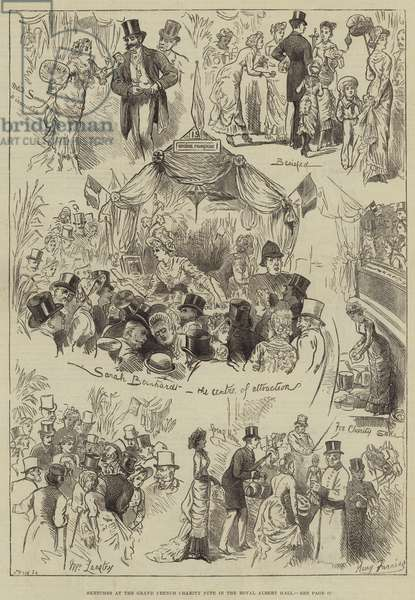 Sketches at the Grand French Charity Fete in the Royal Albert Hall (engraving)