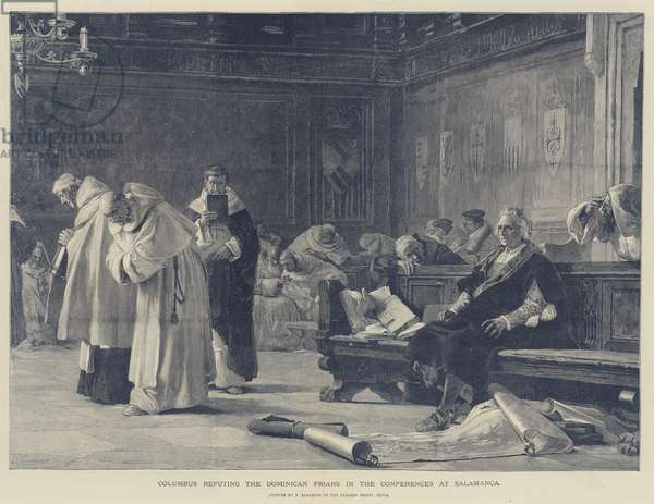 Columbus refuting the Dominican Friars in the Conferences at Salamanca (engraving)