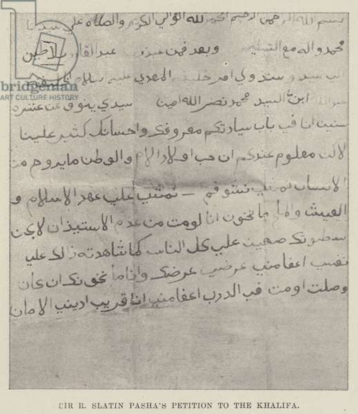 Sir R Slatin Pasha's Petition to the Khalifa (b/w photo)