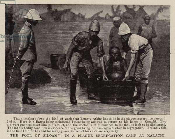 """The Pool of Siloam"", in a Plague Segregation Camp at Karachi (b/w photo)"