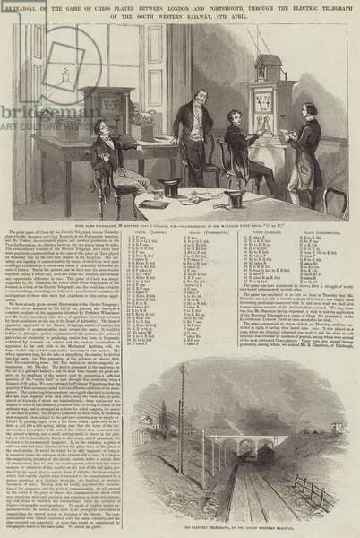 Rehearsal of the Game of Chess played between London and Portsmouth through the Electric Telegraph of the South Western Railway, 9 April (engraving)