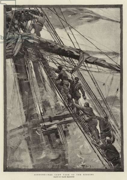 Aground, the Crew take to the Rigging (engraving)