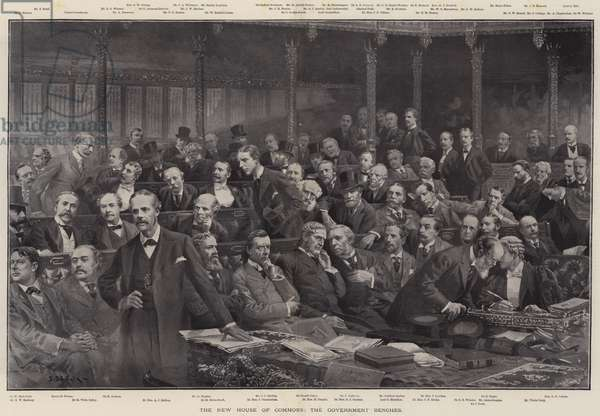 The New House of Commons, the Government Benches (engraving)