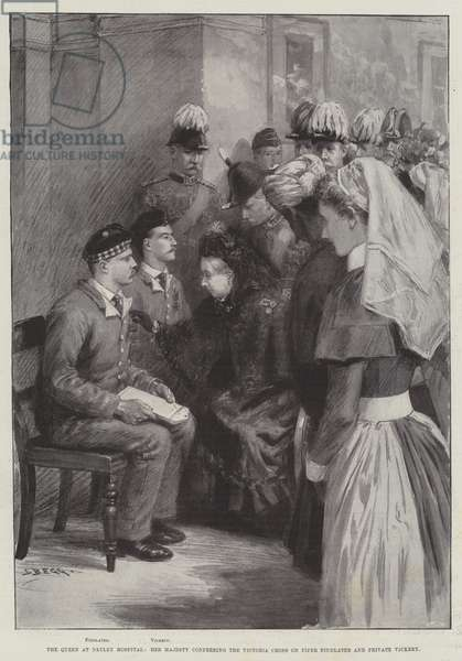 The Queen at Netley Hospital, Her Majesty conferring the Victoria Cross on Piper Findlater and Private Vickery (engraving)