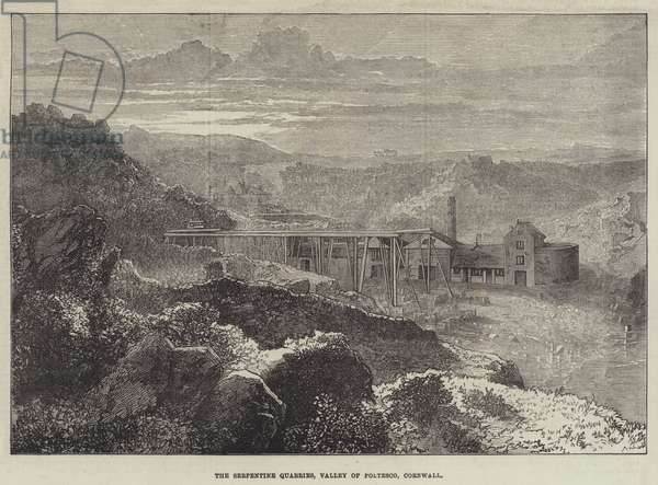 The Serpentine Quarries, Valley of Poltesco, Cornwall (engraving)