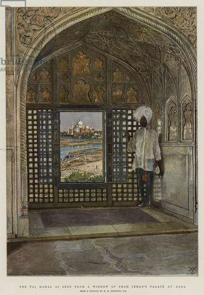The Taj Mahal as seen from a Window of Shah Jehan's Palace at Agra (colour litho)