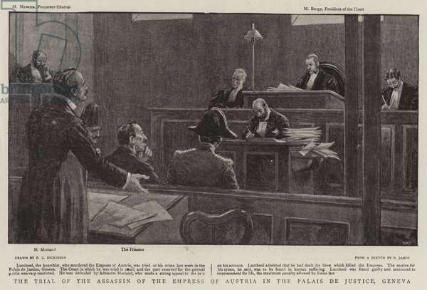 The Trial of the Assassin of the Empress of Austria in the Palais de Justice, Geneva (litho)