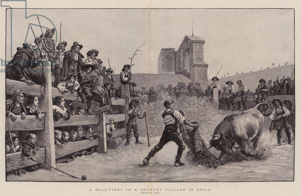 A Bull-Fight in a Country Village in Spain (engraving)