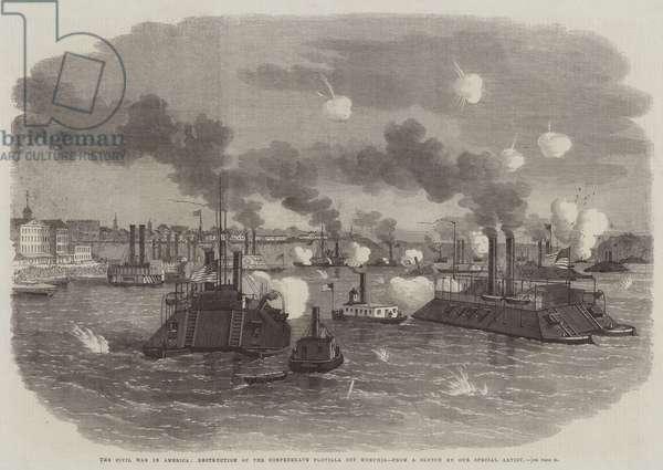 The Civil War in America, Destruction of the Confederate Flotilla off Memphis (engraving)