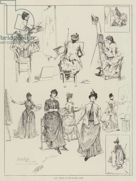Lady Artists at the Louvre, Paris (engraving)