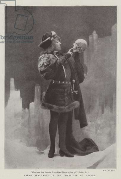 Sarah Bernhardt in the Character of Hamlet (b/w photo)