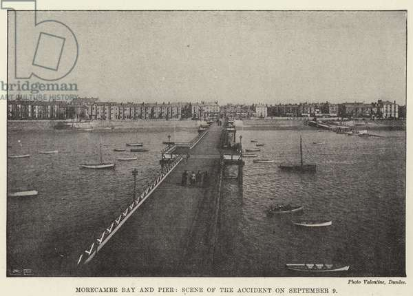 Morecambe Bay and Pier, Scene of the Accident on 9 September (b/w photo)
