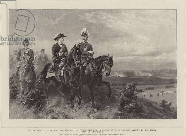 Queen Victoria attending a review with the Prince Consort (engraving)