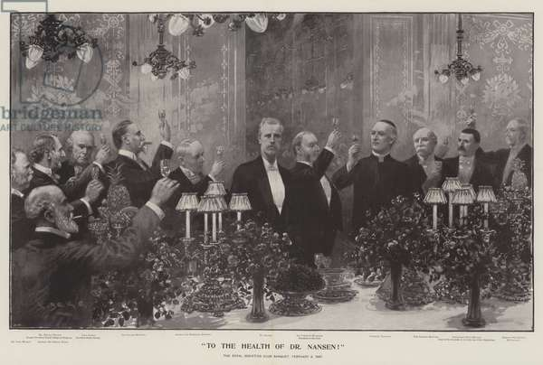 To the Health of Dr Nansen!, the Royal Societies Club Banquet, 5 February 1897 (litho)