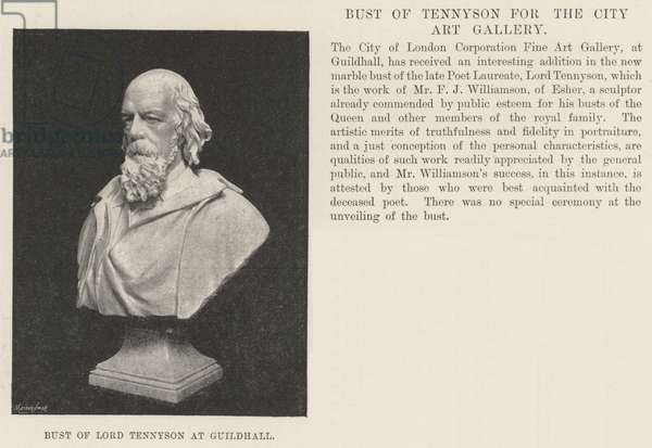 Bust of Lord Tennyson at Guildhall (engraving)