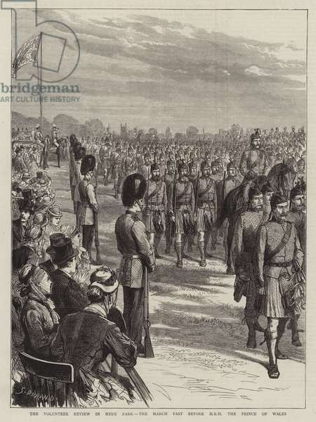 The Volunteer Review in Hyde Park, the March Past before HRH the Prince of Wales (engraving)