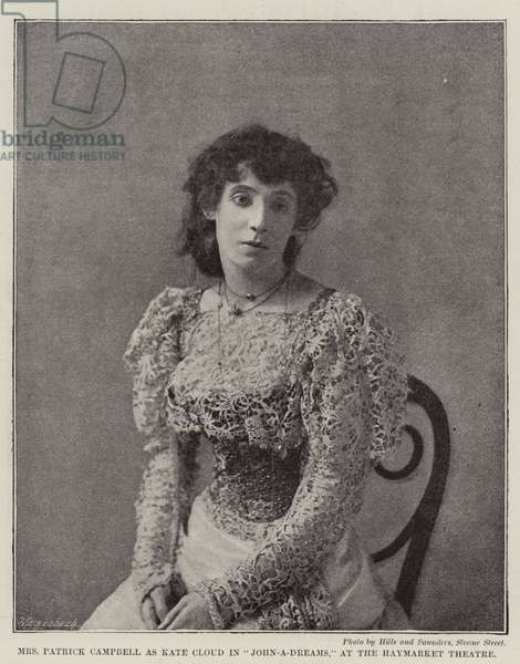 """Mrs Patrick Campbell as Kate Cloud in """"John-a-Dreams,"""" at the Haymarket Theatre (b/w photo)"""