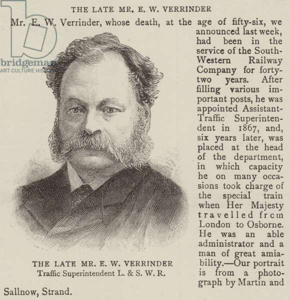The Late Mr E W Verrinder (engraving)