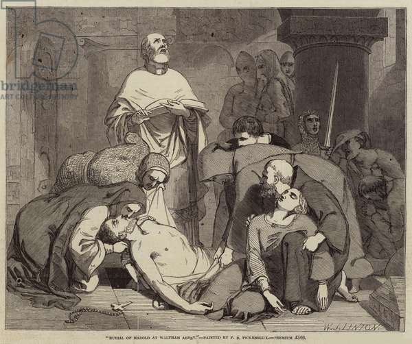 Burial of Harold at Waltham Abbey (engraving)