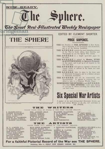 Advertisement, The Sphere (engraving)
