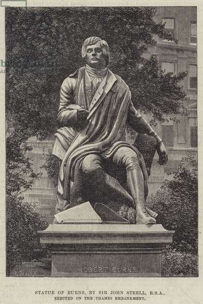 Statue of Burns, by Sir John Steell, RSA, erected on the Thames Embankment (engraving)