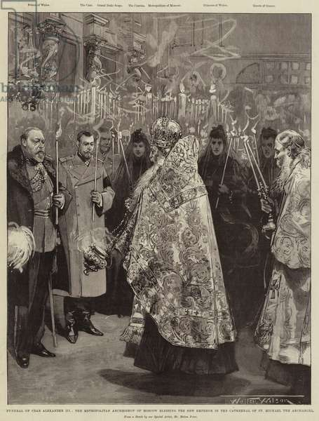 Funeral of Czar Alexander III, the Metropolitan Archbishop of Moscow blessing the New Emperor in the Cathedral of St Michael the Archangel (engraving)