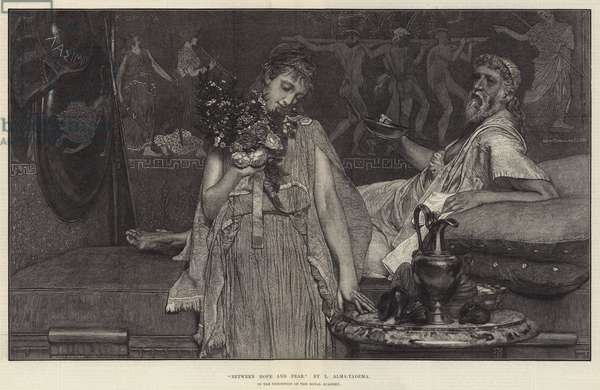 """""""Between Hope and Fear,"""" in the Exhibition of the Royal Academy (engraving)"""