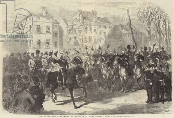 Entry of King Leopold II into Brussels, his Reception at the Laeken Gate (engraving)