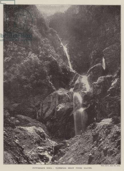 Picturesque India, Waterfall below Pindri Glacier (b/w photo)