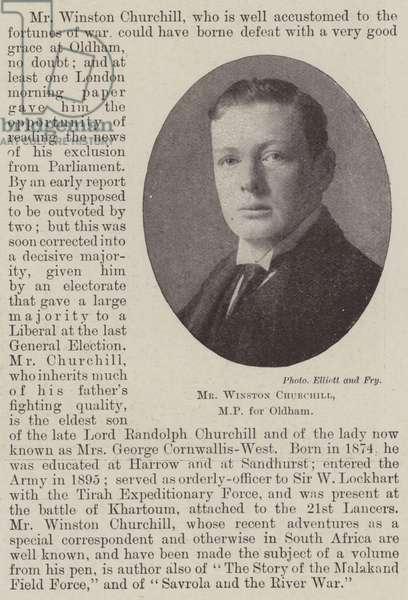 Mr Winston Churchill, MP for Oldham (b/w photo)