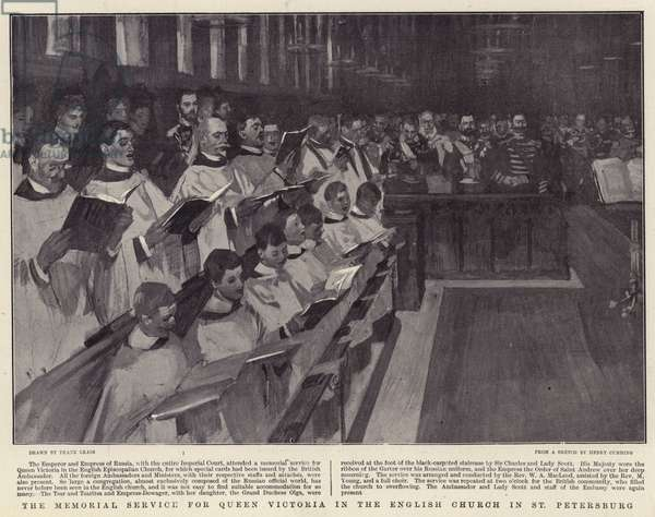 The Memorial Service for Queen Victoria in the English Church in St Petersburg (litho)