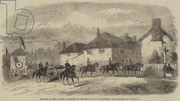 Return of the 1st Field Battery of the Devon Coast Volunteers to Quarters at Woodbury (engraving)