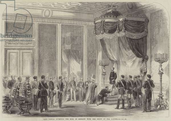 Earl Cowper investing the King of Denmark with the Order of the Garter (engraving)
