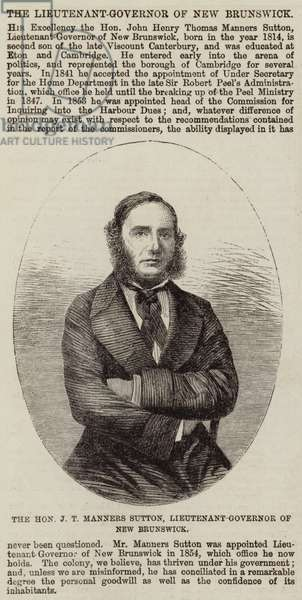 The Honourable J T Manners Sutton, Lieutenant-Governor of New Brunswick (engraving)