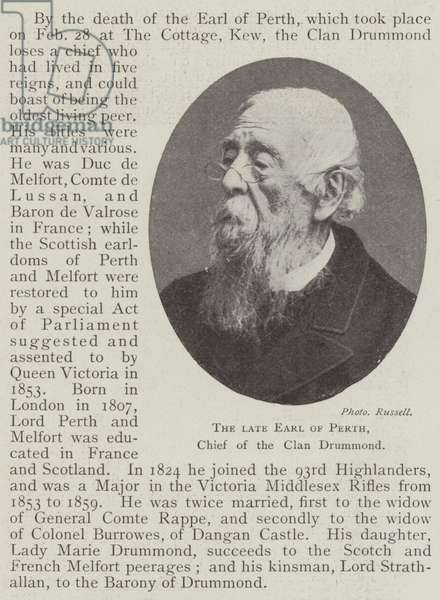The late Earl of Perth, Chief of the Clan Drummond (engraving)
