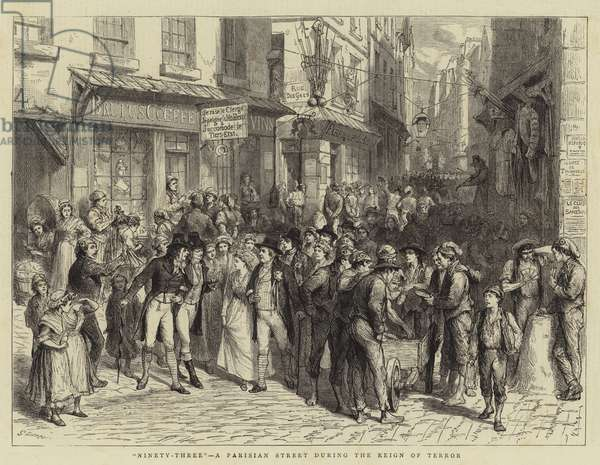 """Ninety-Three"", a Parisian Street during the Reign of Terror (engraving)"
