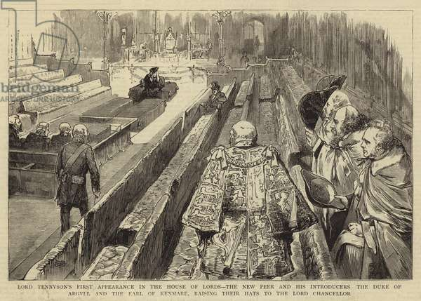 Lord Tennyson's First Appearance in the House of Lords, the New Peer and his Introducers the Duke of Argyll and the Earl of Kenmare, raising their Hats to the Lord Chancellor (engraving)