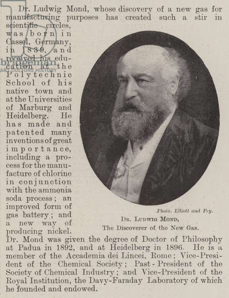 Dr Ludwig Mond, the Discoverer of the New Gas (b/w photo)