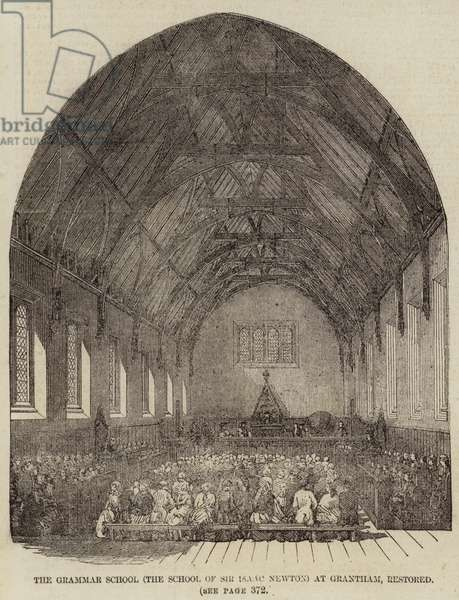 The Grammar School (The School of Sir Isaac Newton) at Grantham, restored (engraving)