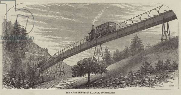 The Righi Mountain Railway, Switzerland (engraving)