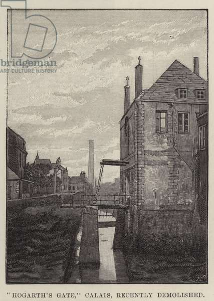 """Hogarth's Gate,"" Calais, recently demolished (engraving)"