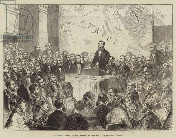 Sir Samuel Baker at the Meeting of the Royal Geographical Society (engraving)