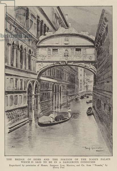 The Bridge of Sighs and the Portion of the Doge's Palace which is said to be in a Dangerous Condition (litho)