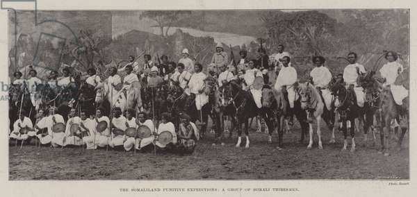 The Somaliland Punitive Expeditions, a Group of Somali Tribesmen (b/w photo)