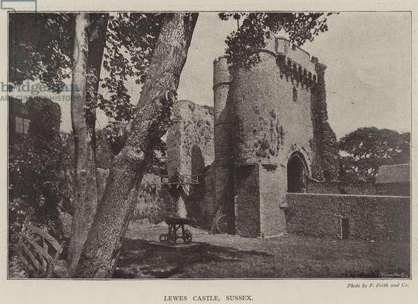 Lewes Castle, Sussex (b/w photo)