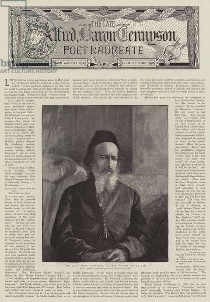 Alfred, Baron Tennyson, Poet Laureate (engraving)