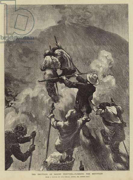 The Eruption of Mount Vesuvius, climbing the Mountain (engraving)