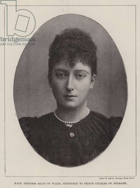 HRH Princess Maud of Wales, betrothed to Prince Charles of Denmark (b/w photo)